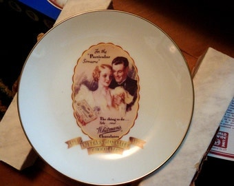Whitmans Chocolate, Collector Plate for Chocolate Lovers,Valentines Gift Plate, Saturday Evening Post Image, Vintage Plate