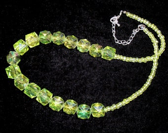 Peridot Green Necklace, Glass Seed Beads, Plastic AB Beads, 20 Inch Necklace