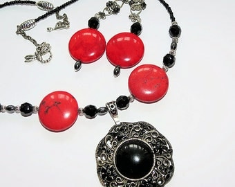 Necklace Earring Set,Faceted Black Glass Bead, Red Howlite Necklace and Earring,Disability Jewelry, Handmade  Demi Parure OOAK