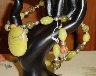 SALE 50% Lemon Chartruese Jade Necklace Earring Set, 19in Sterling Silver wire wrapped Focal and Dangle Earring set
