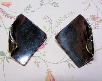 Modernist Abstract Sterling Silver and Gold Earrings, Vintage 925 Silver ladies Earrings, Post Earrings w Clip