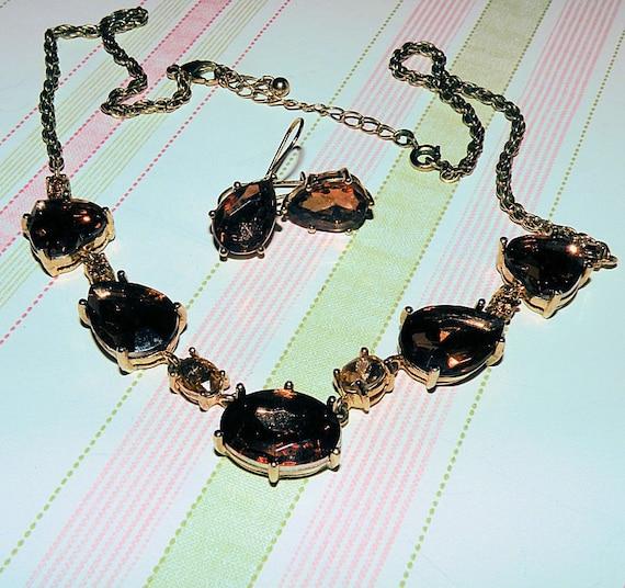 Vintage Necklace Earring set, Topaz Root Beer Rhinestones, Dangle Earrings, Demi Parure