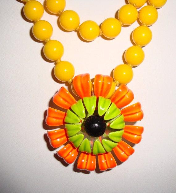 Yellow  Orange Necklace, Deep Yellow Beads, Orange  Flower Pendant,