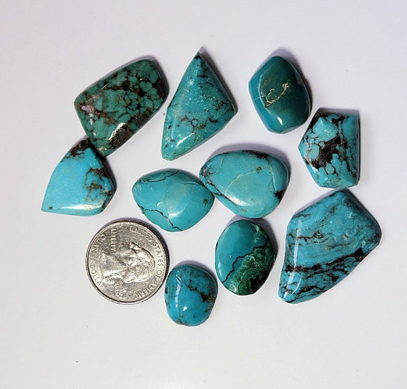 Turquoise Chrysocolla Cabochons, Mixed Lot 1, Turquoise Stones For Jewelry Supplies