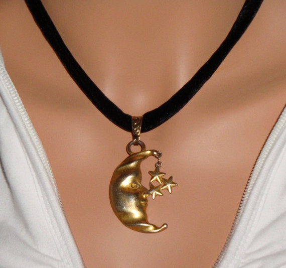 Moon and Stars Necklace Handmade Fat Velvet Cord Gold