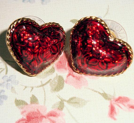 Vintage Avon Ruby Red Enameled Heart Earrings Post Style