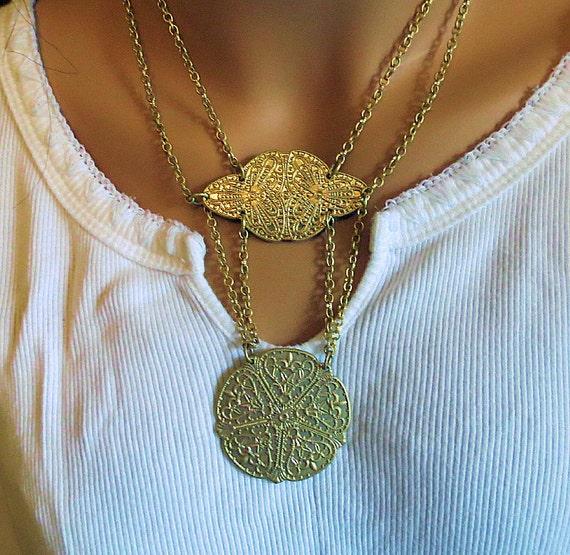 Golden Medallian Double Chain Necklace, Vintage Ladies Necklace Modernistic Medallians
