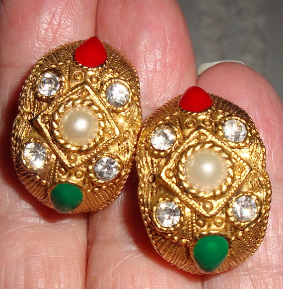 Earrings Post Crystal Pearl Red and Green enamel Gold tone Ladies Vintage