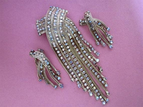 Vintage Aurora Rhinestone Brooch/Pendant and Earrings