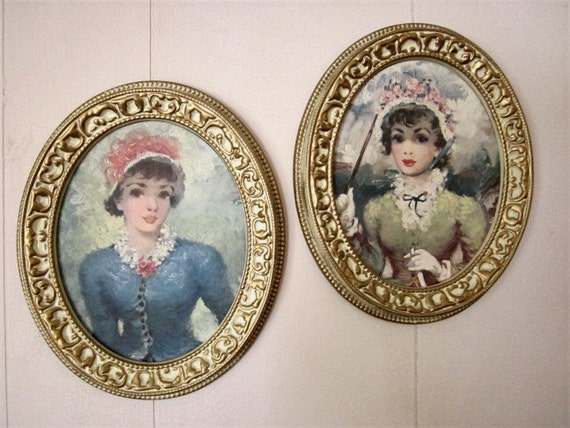 Pair Vintage Prints pretty ladies