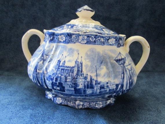 Antique Sugar Bowl blue and white transferware