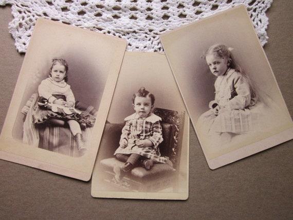3 Antique Photos little babes Cabinet Cards