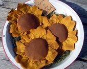 Primitive Sunflower Tucks Ornies Bowl fillers