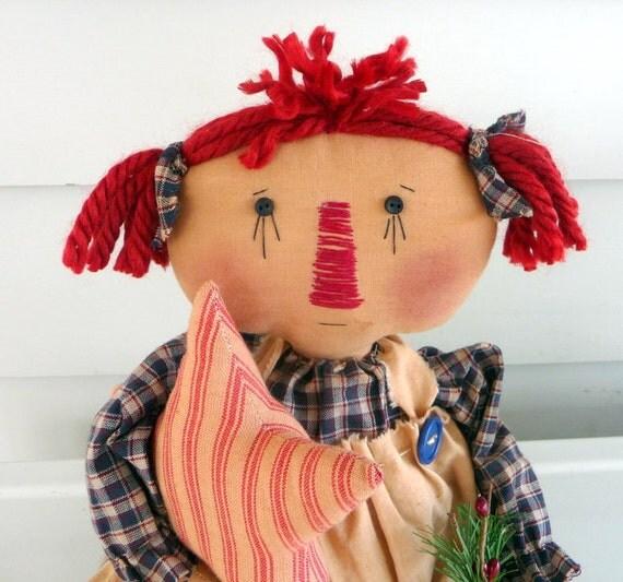 Primitive Raggedy Annie star ornie prim doll