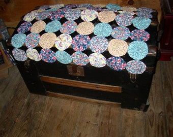 VINTAGE YOYO FABRIC Feedsack Harvest Table Trunk Scarf Doily Flour Sack Cloth 50S Retro Yoyo