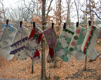 Made to order old quilt stockings Christmas Stockings made from a old American Made quilt