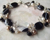 Black Agate Wire Wrapped Bracelet with Swarovski Crystals Pearls and Sterling Silver Accents....MOONLIGHT