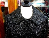 Striking Allover Black Sequin Overcoat on Double Knit Fabric