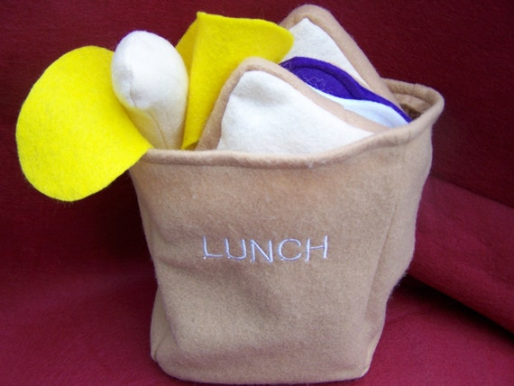 Classic PB and J Banana all in a Felt Paper Bag School Lunch Felt Play Food Set by  THE LITTLE LOVE BUG