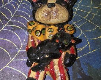 Primitive Prim Folk Art Halloween Ornament Boston Terrier Dog Clown Black Cat
