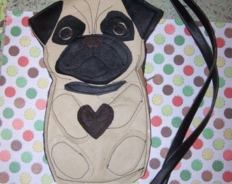 Boutique Pug Dog Coin Purse Cell Phone Carrier Ooak Faux Leather