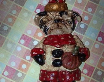 Whimsical Folk Art English Bulldog Party Dog Ornament  Decoration