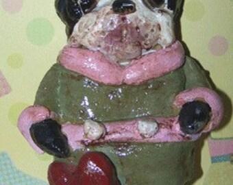 Folk Art Boston Terrier Dog Doll Ornament