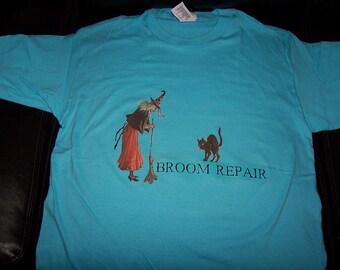Vintage Style Halloween Witch Black Cat Broom Repair T Shirt Tee Shirt
