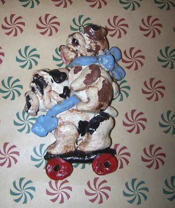 Folk Art Primitive English Bulldog Dog Goes for  Ride  Ornament ooak