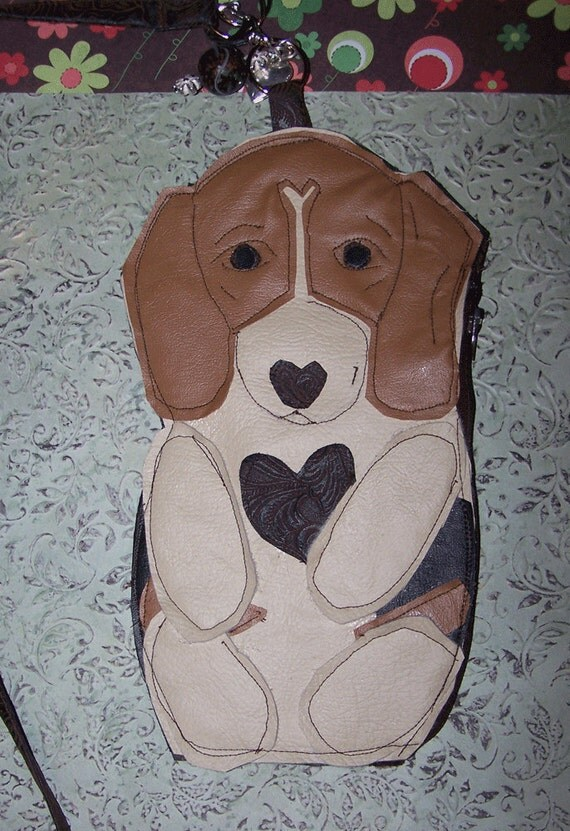Beagle Dog Coin  Clutch Purse Faux Leather Cell Phone Carrier