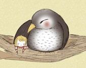 "Mama bird and baby nursery Art Print ""Nestled"" 8 x 10 Print Baby Children's Nursery Artwork Bird in a Nest with Child"