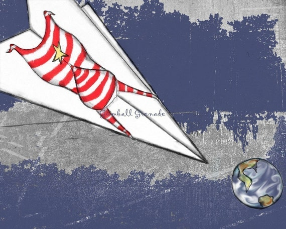 "Paper Airplane Art Print - ""Homeward Bound"" 8 x 10 Inch Space Themed Artwork for Boys Nursery"