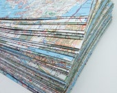 15 6x9 envelopes from recycled  maps