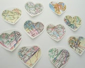 set of 200 map heart stickers