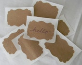 set of 20 recycled paper bag stickers