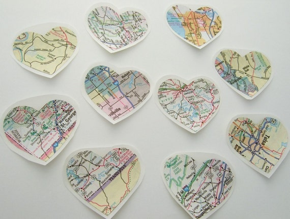 map heart stickers