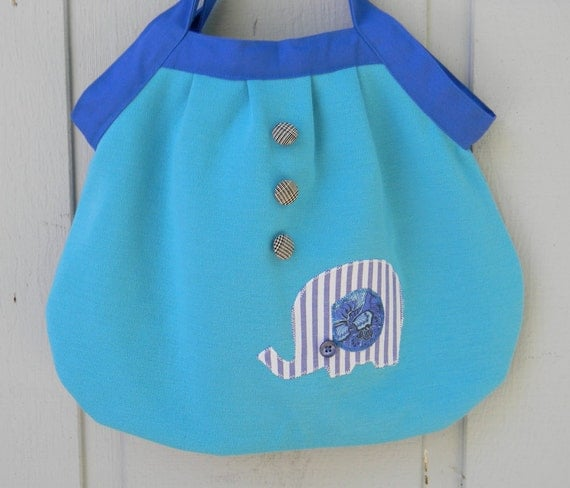 turquoise thick double knit elephant bag
