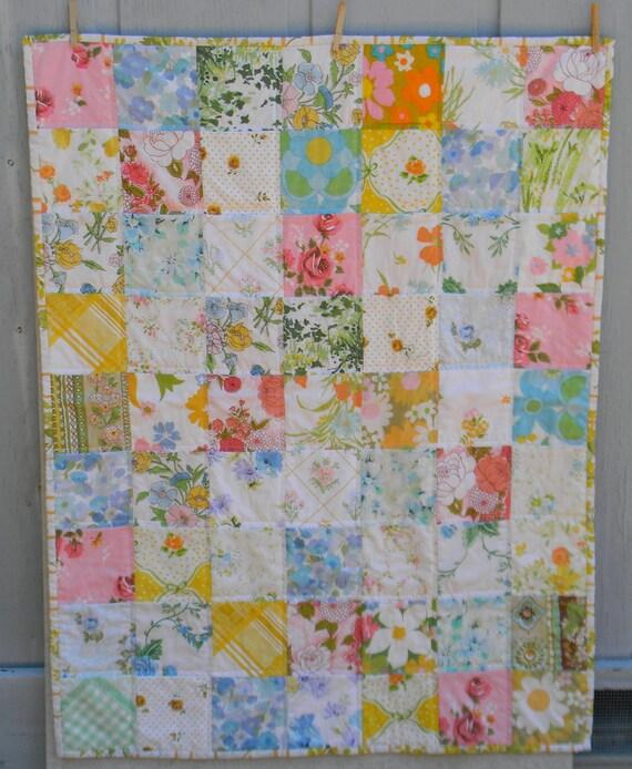 Sweet vintage linens toddler quilt