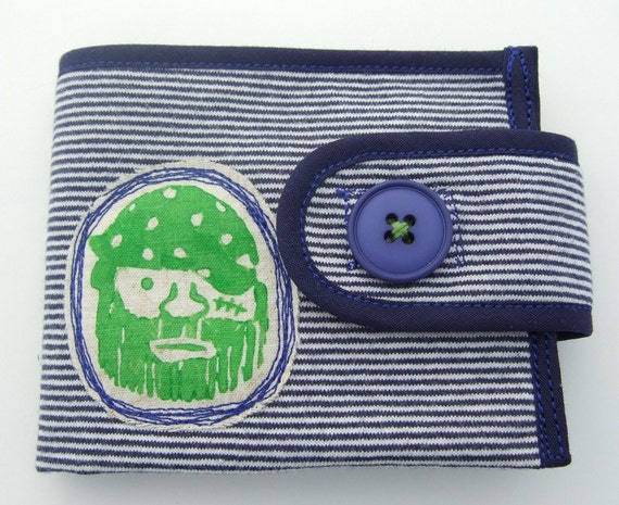 Made to order Blue stripes pirate wallet