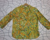 SALE  Abstract  bright 60s womens blouse