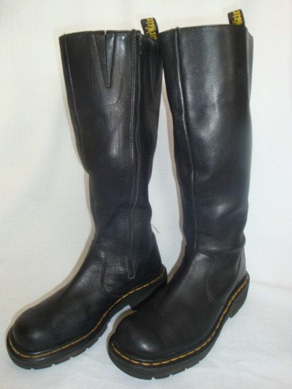 reserved for roe dr marten black leather knee high zip up