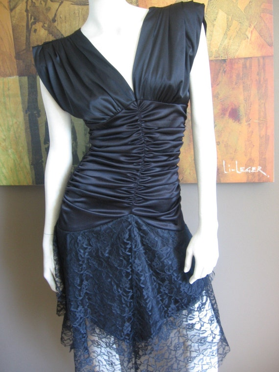 Vintage 80s black ruched dress
