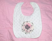 Personalized  New Boutique  Shabby Raggy Rose  BiB  Minky Dot Chenille  Pink & Gray