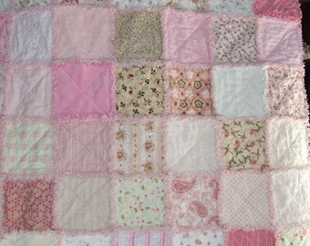 Custom Personalized Twin Rag Quilt Personalized Shabby Chic w/ Vintage Chenille N Minky Very Unique ** Made to Order **