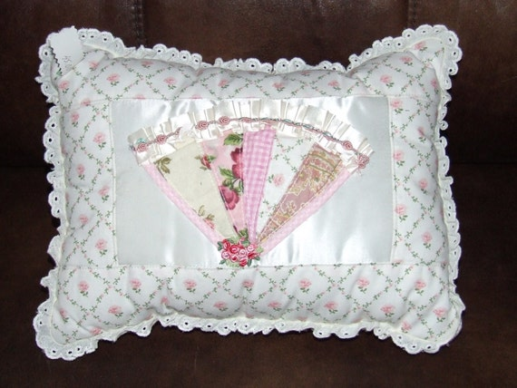 Shabby Chic Victorian Fan N Ruffles Pillow w/ Lace Cottage Vintage Patchwork  **Ready To Ship**  Yankee Fashions Boutique