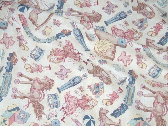 Toile Crib Sheet Sooo Cute! Boy or Girl Vintage Toys Fitted Crib or Toddler Bed Very Unique Handmade New  READY 2 SHIP