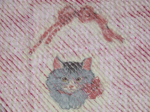 Kitty Cat Hand Made Primitive Vintage Fabric Hand Crafted Chenille Rag Rug Yankee Fashions Boutique  ** Ready To Ship **