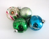 SALE-Vintage Glass Ornaments - Christmas- Vintage