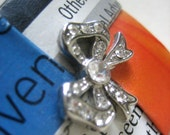 Eco Chic Paper Brooch Embellished With A Rescued Twinkly Rhinestone Bow