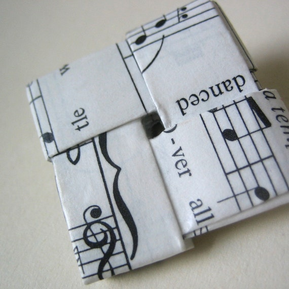 Sheet Music Pin - Black & White - Eco-Chic
